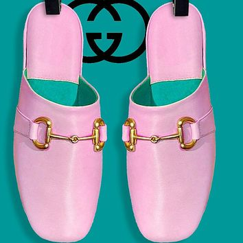 GUCCI Fashino Slippers Flat Sandals Pink Metal Buckle Green internal Pink