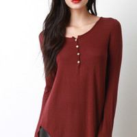 Half Placket Ribbed Knit Top