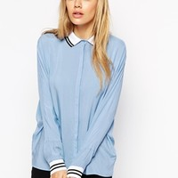 ASOS Casual Shirt With Jersey Collar And Cuffs at asos.com