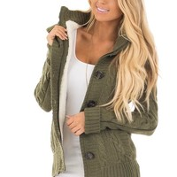 Olive Sweater with Faux Fur Lining