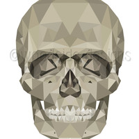 Geometric low Poly Skull Print, Halloween Poster,  Wall Art, Skeleton Art, Geometric Art, Digital Print, Teenagers Bedroom Art, Gothic Print
