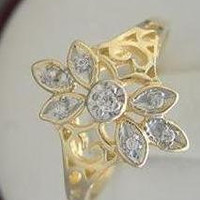 New Genuine Diamond Beautiful Antique Style Solid Gold Cluster Ring 10kt White Or Yellow Gold Size 3-10