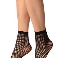 Black Thick Mesh Socks Ankle High - Socks