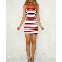 Not a Chance Stripe Bodycon Dress in Red
