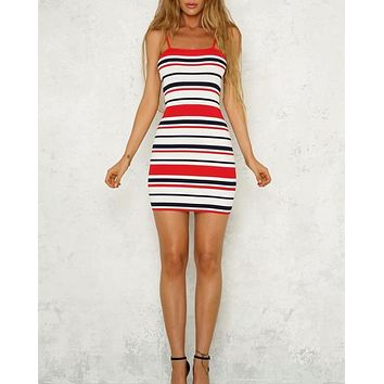 not a chance stripe bodycon dress - red