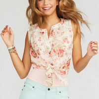 Lace Inset Floral Tank