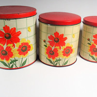 Canister Set, Shabby Country Kitchen, bright orange flowers, Lithograph