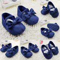 Denim Baby Shoes Girls Bowknot Crib Shoes Soft Sole Prewalker Newborn -N4 = 1929981892