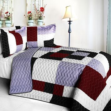 [Grape Princess] Brand New Vermicelli-Quilted Patchwork Quilt Set Full/Queen
