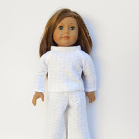 American Girl Doll Clothes, Pajamas, Flannel Winter Pajamas, Green and Pink Polka Dot Pajamas, fits 18 Inch Dolls such as American Girl