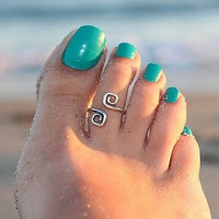 Women Girl Toe Ring Adjustable Foot Beach Jewelry Gift (Color: Silver)