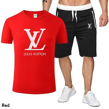 LV Louis Vuitton Hot Sale Men Casual Print Short Sleeve T-Shirt Top Shorts Set Two-Piece Sportswear Red