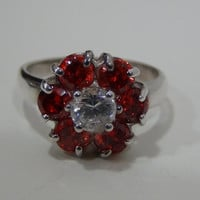 Sterling Silver 925 Ring with Red and White Cubic Zirconia Stones