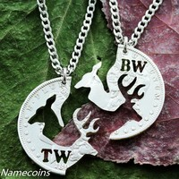Real Silver Dollar Buck and Doe cut with your Initials on each side, hand Cut Coin necklaces