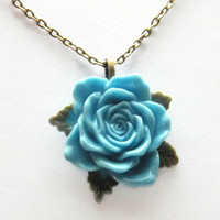 Mothers Day Necklace Pendant Chain, Flower Necklace, Rose Necklace Blue Flower