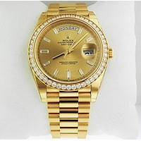 Rolex Oyster Perpetual Day-Date gold Dial Automatic Mens Yellow Gold President Watch 228348BKDP