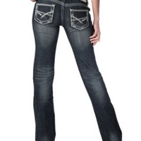 Rock & Roll Cowgirl® Women's Dark Stonewash with Thick Stitching Low Rise Boot Cut Jeans- 36in Inseam