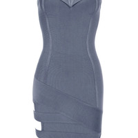 Gray Sweatheart Top Cutout Hem Dress