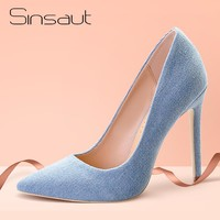 Sinsaut Spring Autumn Summer Denim Shoes with Fur Pompon High Heels Pointed Toe Pumps For Women Dress Party Wedding Pumps