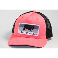 Red Dirt Hat Stoney Buffalo – Heather Coral / Black Snap Back Trucker Hat