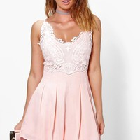 Boutique Zoe Crochet Detail Flippy Shorts Playsuit | Boohoo
