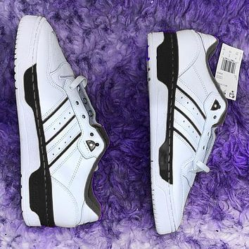 Vsgirlss ADIDAS RIVALRY Three Leaf Trending Flat Shoes Classic Sneakers White with black stripe