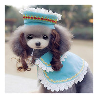 Dog Pet Clothes Cloak Wig Hat Suit   PF09 blue  S