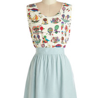Miss Patina Vintage Inspired Mid-length Sleeveless A-line Ahead in the Clouds Dress