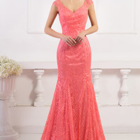Watermelon Red V-Neck Backless Mermaid Lace Evening Dress