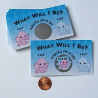 Gender Reveal Unique & Fun Party Ideas- Scratcher Scratch Off Game Cards, Cute Pink Or Blue Baby Elephant Scratch-Off Tickets (25 cards)