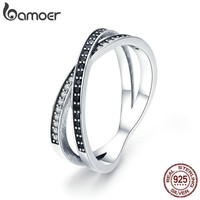 BAMOER Authentic 925 Sterling Silver Cross Geometric Black & Clear CZ Finger Rings for Women Sterling Silver Jewelry anel SCR439