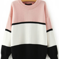 Pink White and Black Stripe Sweater