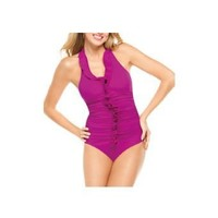 Long and Lean One-Piece Halter Swimsuit $188.00