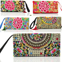 Ethnic Flowers Embroidery Long Wallet