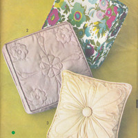 Vintage 60s Pillow Transfer Sewing Pattern Box Trapunto Quilted Designs Advance 723 UNCUT FACTORY FOLDED