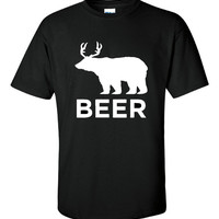 Beer Bear Deer Equals Beer Funny Printed Graphic T Shirt Great Gift For Hunters And Beer Lovers Mens And Womans