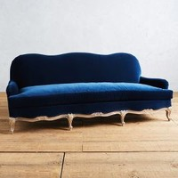 Velvet Claribel Sofa by Anthropologie in Navy Size: One Size Furniture