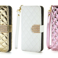 Quilted Designer Folio Wallet Case for iPhone 6