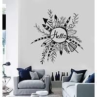 Vinyl Wall Decal Rustic Style Wreath Hello Ethnic Arrows Feathers Stickers Unique Gift (ig4047)