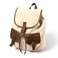 Khaki Backpack with Faux Leather Trim  | Claire's