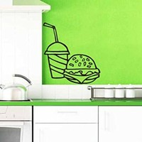 Wall Vinyl Sticker Decal Cheeseburger with Drink and French Fries Art Design Nursery Room Nice Picture Decor Hall Wall Ki107
