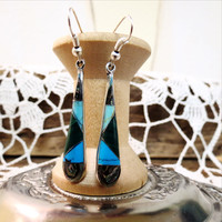 Turquoise and Silver Long Teardrop Earrings - Fair Trade