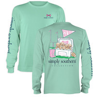Simply Southern Preppy Tailgate Football Puppies Long Sleeve T-Shirt
