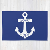 Love Hope Anchor Sea Slate Navy Blue Area & Throw Rug by BeautifulHomes | Society6