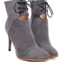Gray Suedette Lace Up Cut Out PU Panel Heeled Ankle Boots