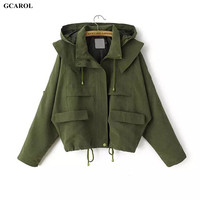 Women Euro Style Hoodies Trench Fashion Casual Draw String Coat Spring Autumn Girl's Oversized Street Wear Short Coat