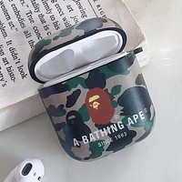 BAPE AAPA Silicone iPhone Airpods Headphone Case Wireless Bluetooth Headphone Protector Case(No Headphones) 2#