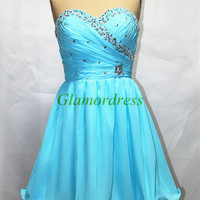 unique short chiffon prom dress with sequins cheap sweetheart gowns for homecoming party cute custom colors homecoming dress