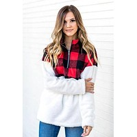 Gracey 1/4 Zip Patterned Sherpa Pullovers