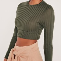 Missguided - Long Sleeved Ribbed Crop Top Khaki
